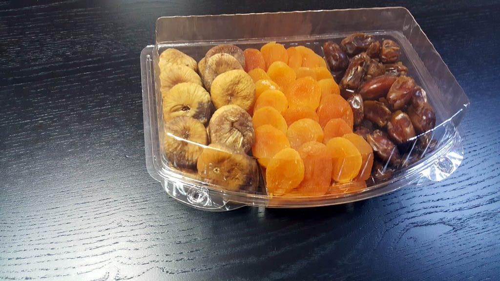 Caserola din plastic cu 3 compartimente pentru fructe confiate (3)