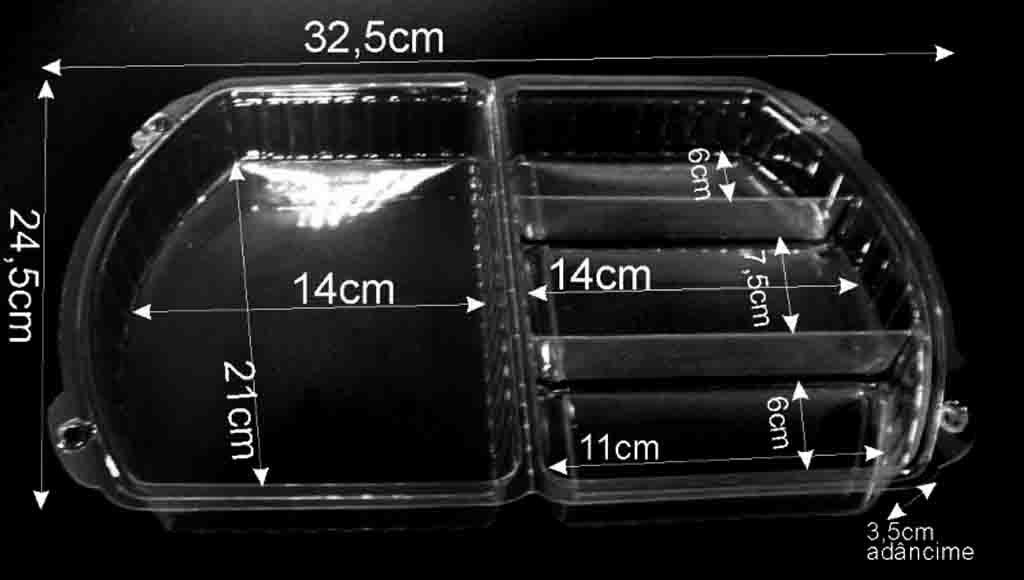 Caserole Transparente Din Plastic Pentru Cu 3 Compartimnte Prajituri