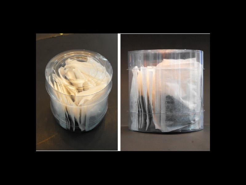Cilindru din plastic pentru plicuri ceai